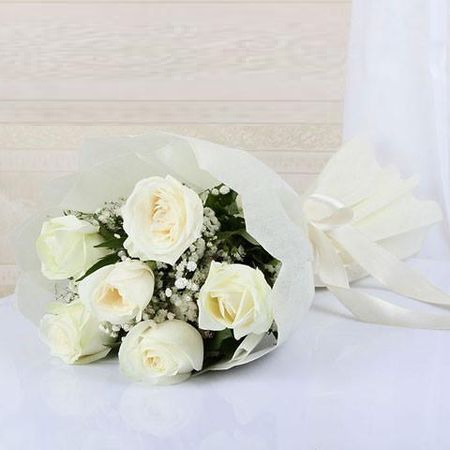 Bouquet of 6 roses - WHITE