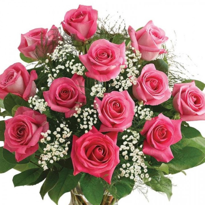 Bouquet of 12 roses - PINK