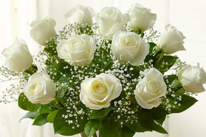 Bouquet of 12 roses - WHITE