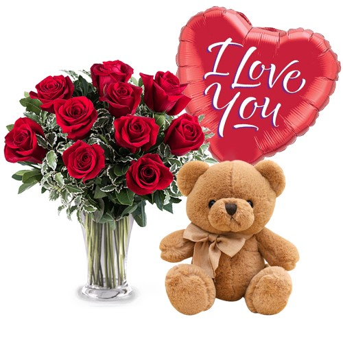 Vase with red roses, teddy bear & balloon