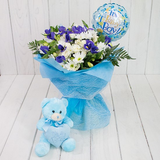 Bouquet baby boy with balloon and teddy bear