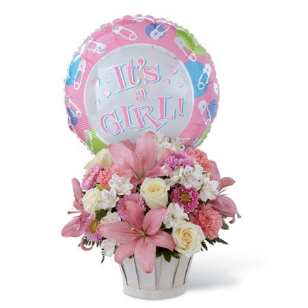Arrangement  for baby girl with ballon