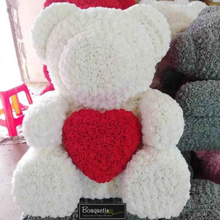 Rose Bear Big With Heart - White