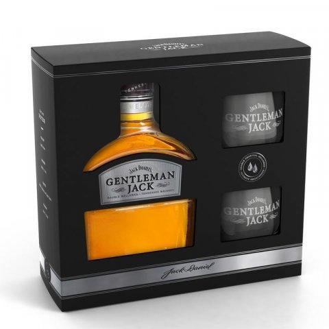 JACK DANIELS GENTLEMAN BOURBON WHISKEY + 2 GLASSES 70CL