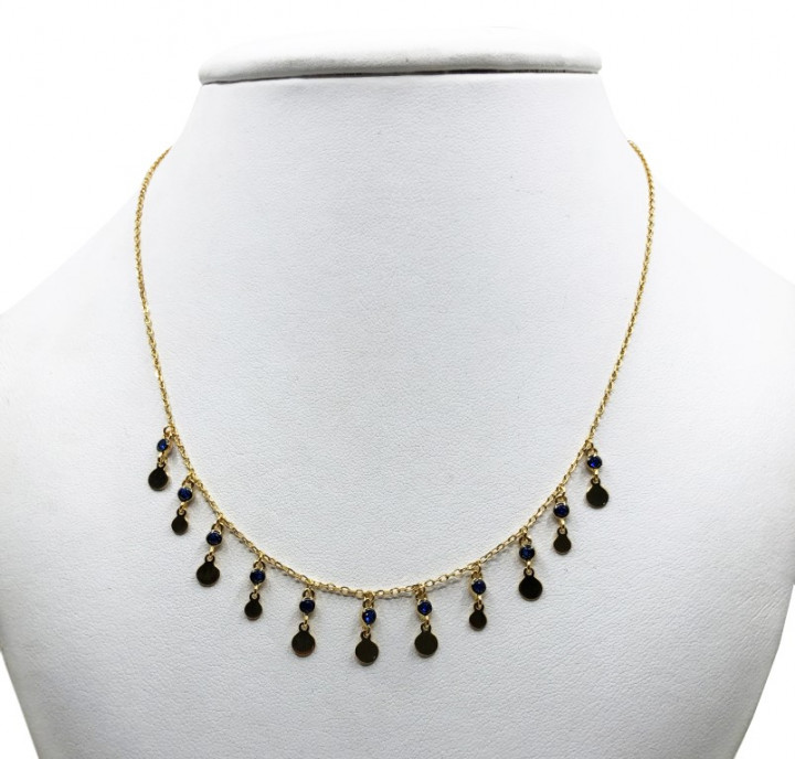 Yellow gold necklace with dangling blue rhinestones - SILVER