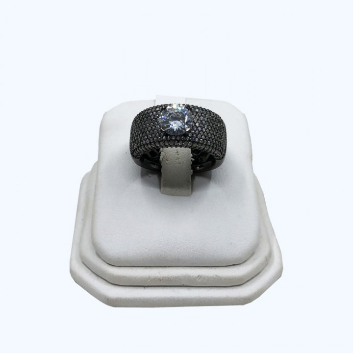 Silver ring in rhinestones, with one stone in the middle - SILVER