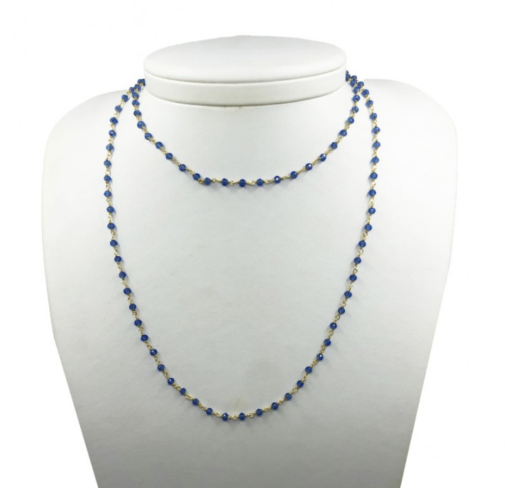 Yellow Gold Necklace with Blue Stones. Long. - SILVER