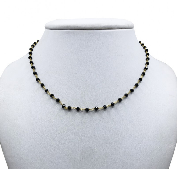 Yellow Gold Necklace with Black Stones. Short. - SILVER