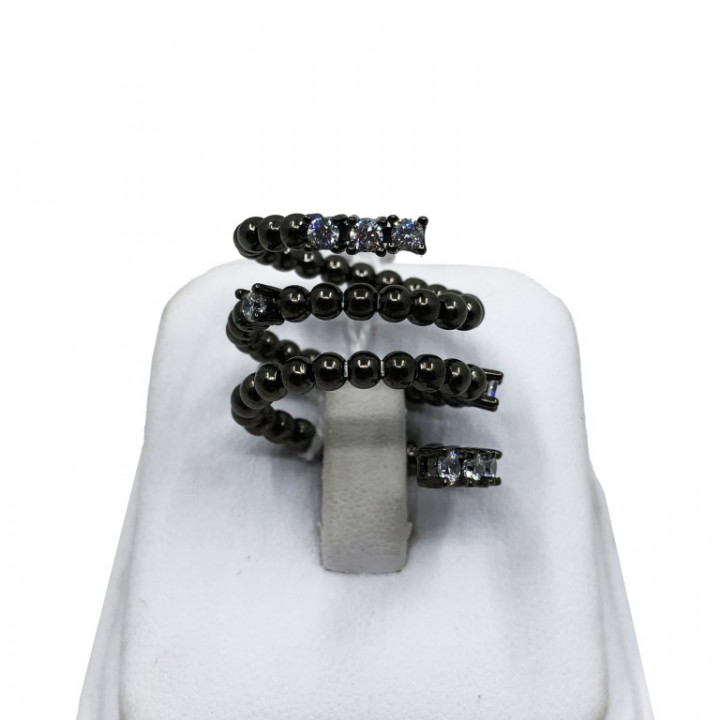 Assymetric Black Silver Ring - SILVER