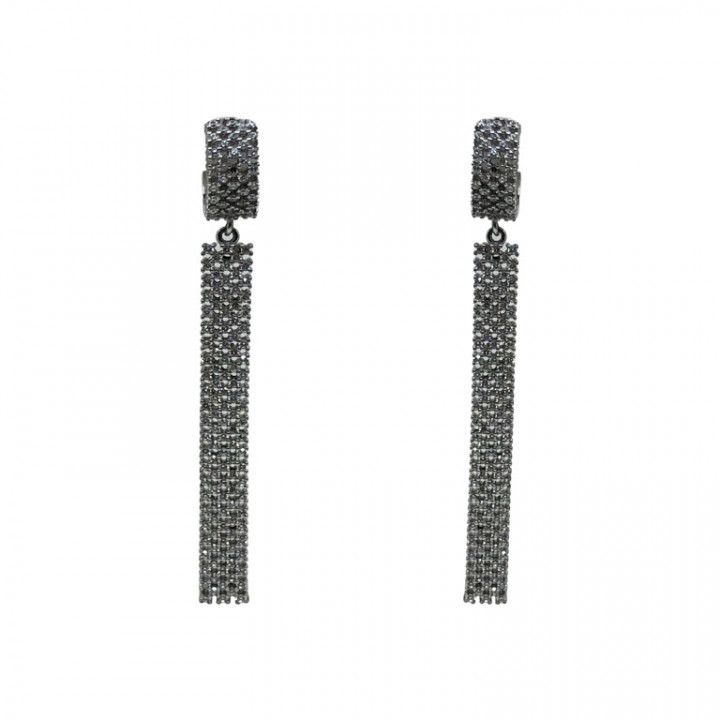 White Gold Dangling Earrings with rhinestones - SILVER