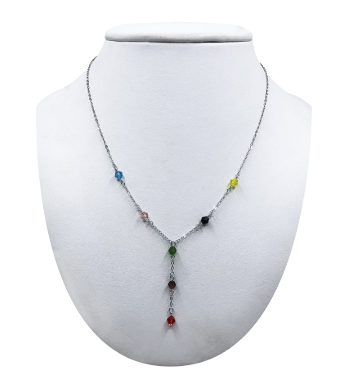 White gold necklace with multicolored rhinestones - SILVER