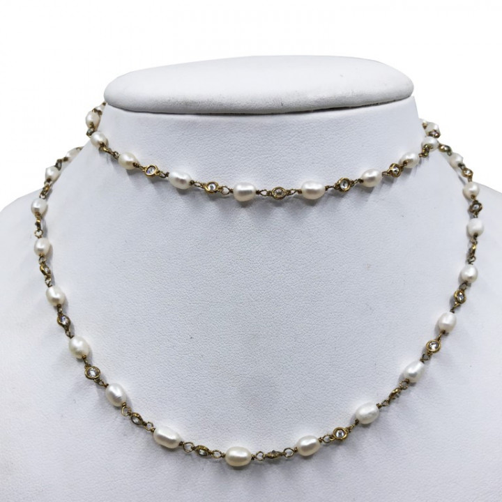 Yellow Gold necklace with pearls and rhinestones - SILVER