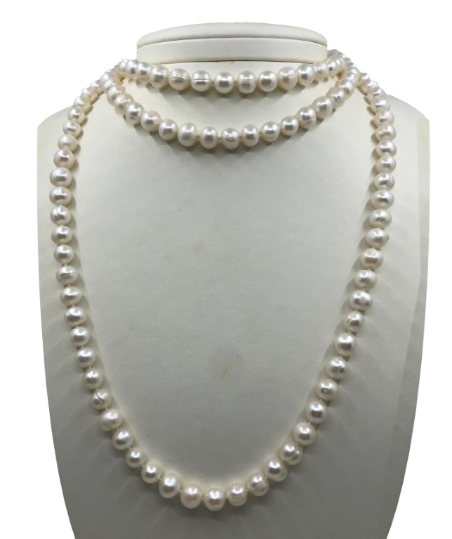 Pearl Necklace with Big Pearls. Long. - PEARL