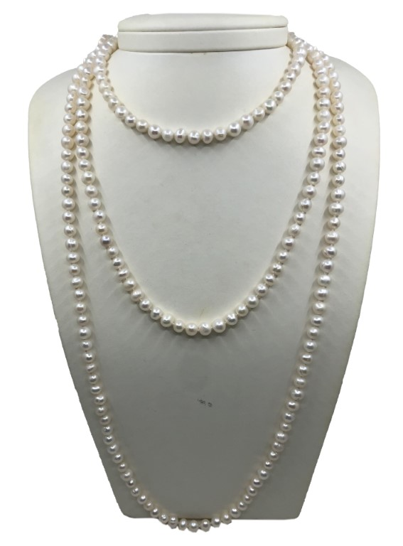 Pearl Necklace with Small Pearls. Long. - PEARL
