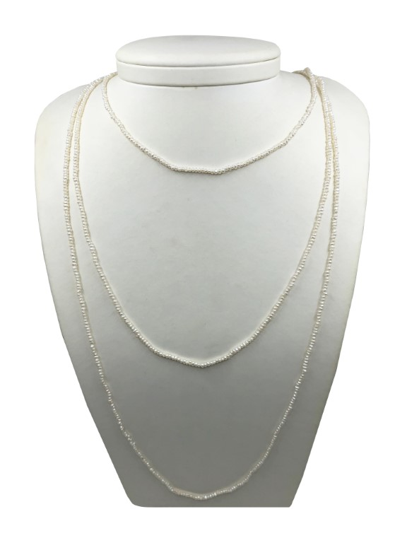 Peark Necklace with Small Pearls. Long. - PEARL