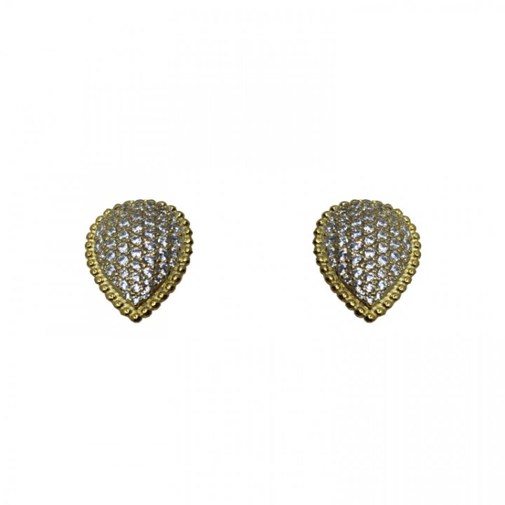 Yellow Gold Tear Drop earrings with rhinestones - SILVER