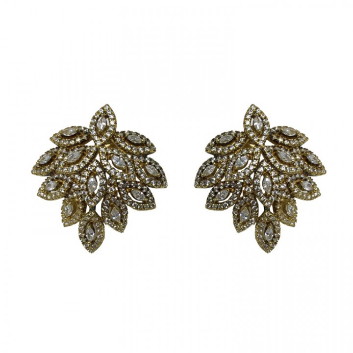 Yellow Gold Leaf Shaped Earrings with rhinestones - SILVER