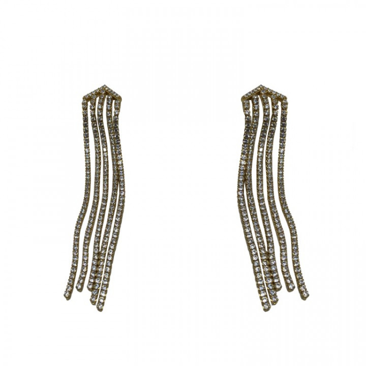 Yellow Gold Dangling Earrings with rhinestones - SILVER