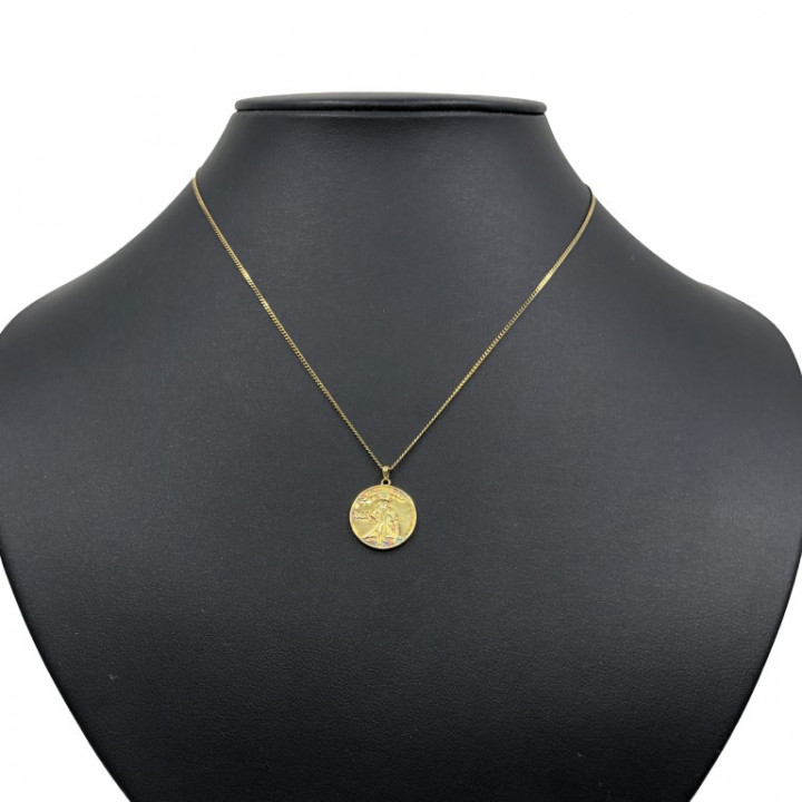 Yellow Gold Coin Shaped Necklace - SILVER