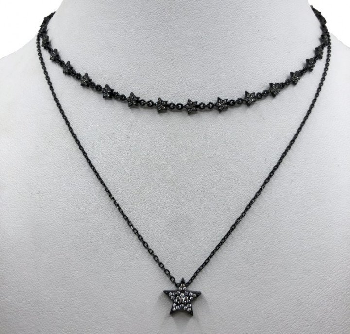 Black sSilver necklace with a star pendant and rhinestones - SILVER