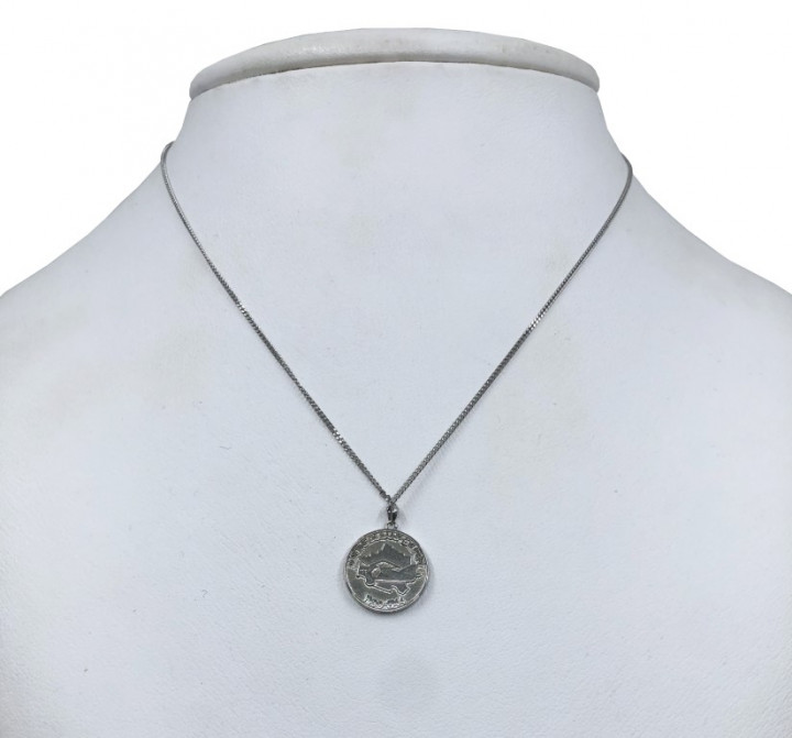 White Gold Coin Shaped Necklace - SILVER