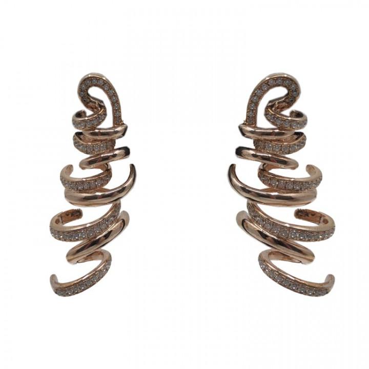 Yellow Gold dangling earrings - SILVER