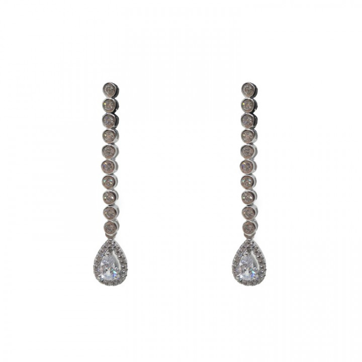 White Gold dangling earrings with tear drop rhinestones - SILVER