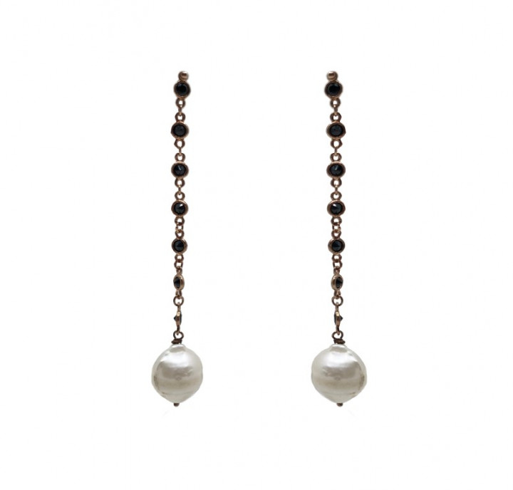 Yellow Gold earrings with black stones and pearls - SILVER