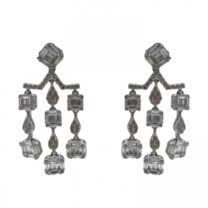 White Gold dangling earrings - SILVER