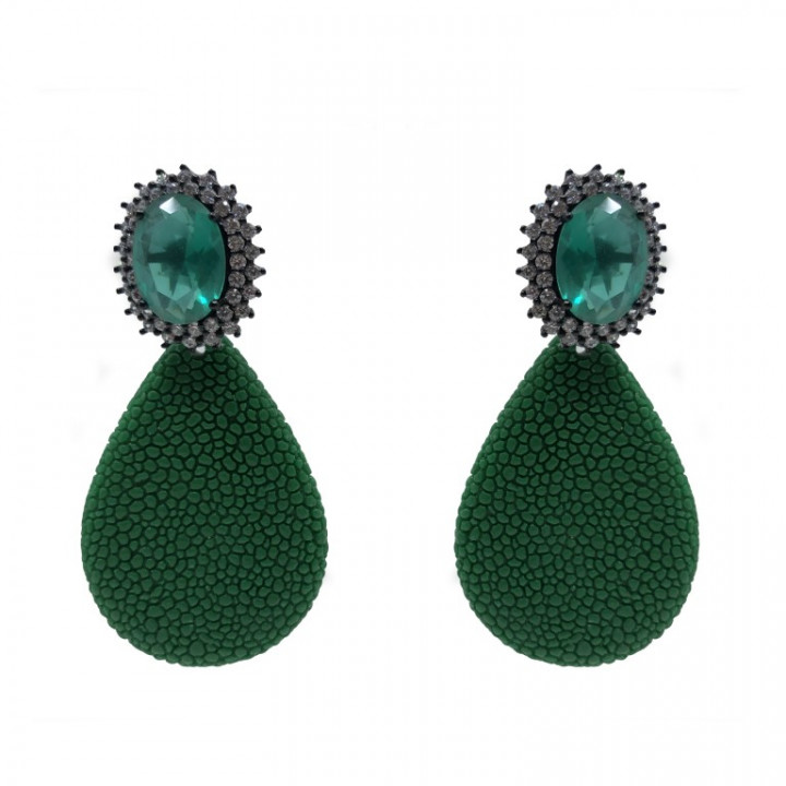 Green Earrings - SILVER
