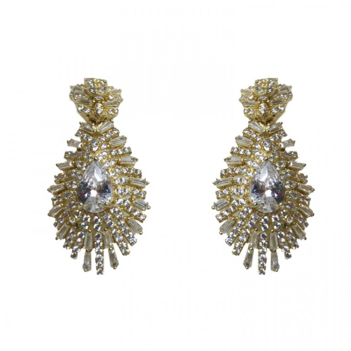 Yellow gold earrings with rhinestones - SILVER
