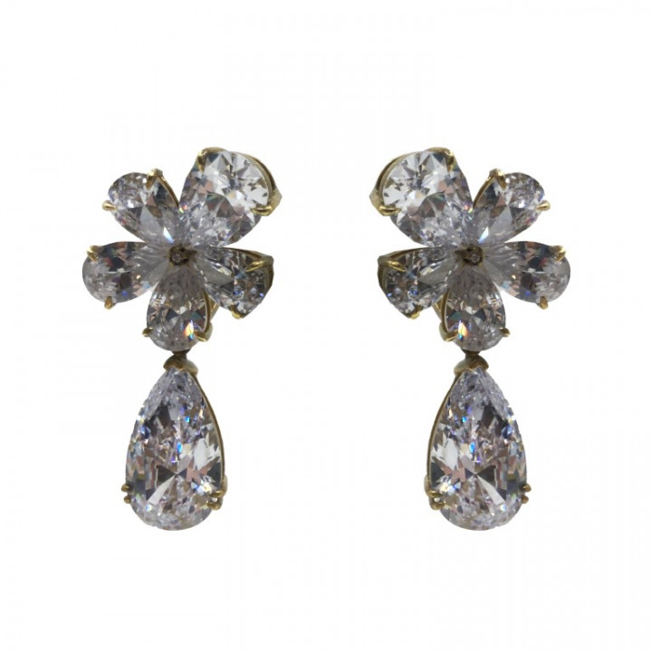 white gold earrings with flower shaped rhinestones - SILVER