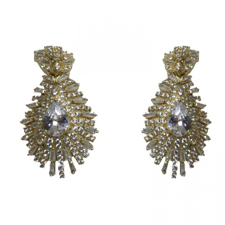 Yellow Gold shaped earrings - SILVER
