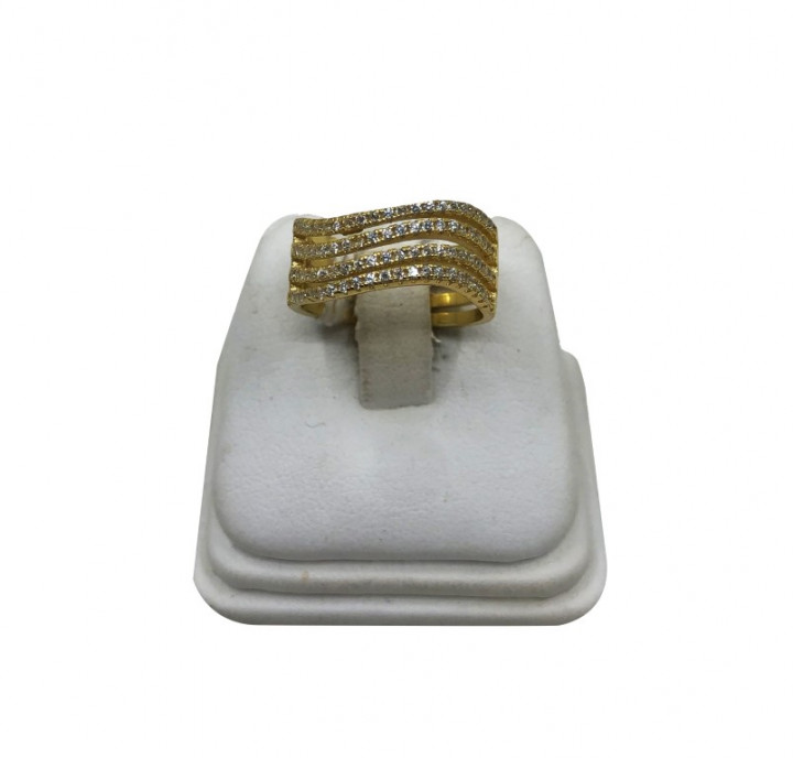 Yellow Gold Ring with rhinestones - SILVER