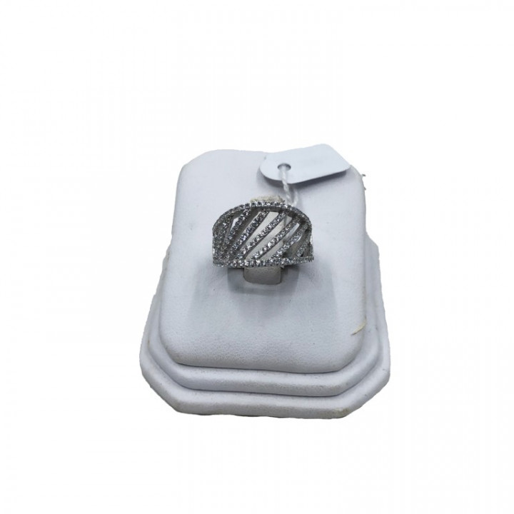 White gold ring with rhinestones - SILVER