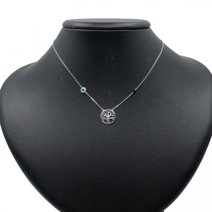 White Gold Tree shaped necklace with evil eye - SILVER