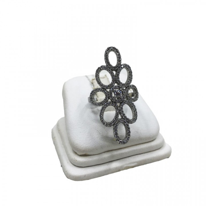 White Gold Flower ring with rhinestones - SILVER