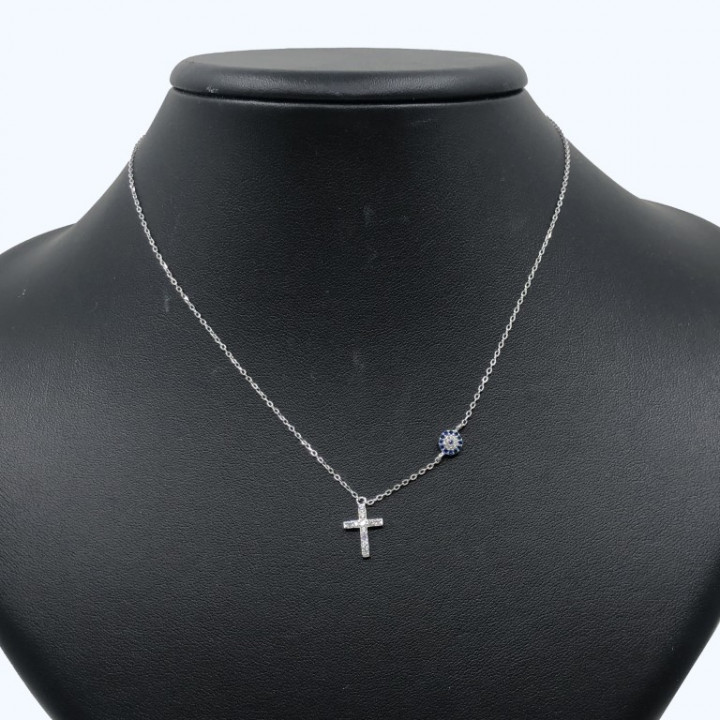 white gold cross with evil eye - SILVER