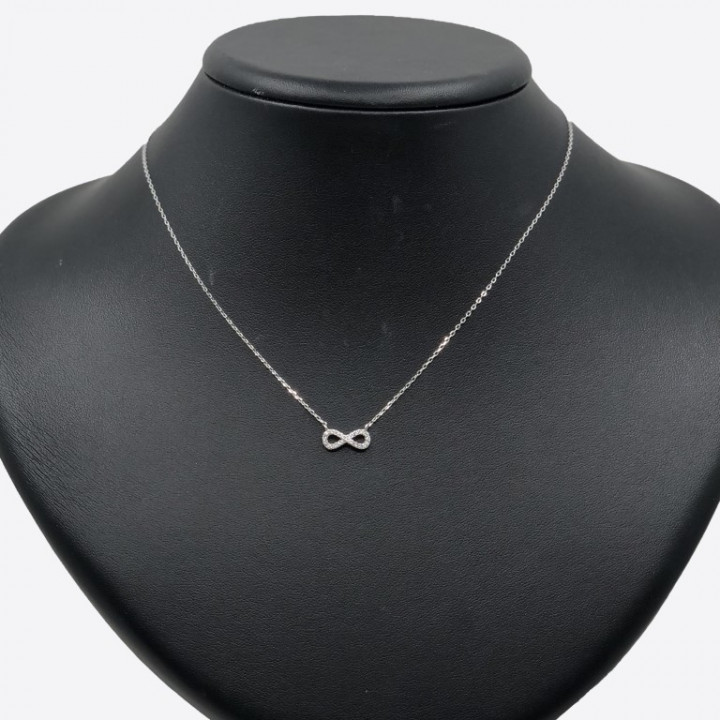 white gold infinity necklace with rhinestones - SILVER