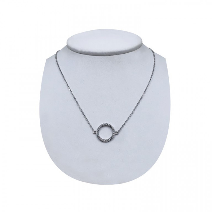 white gold circle shaped necklace with rhinestones - SILVER