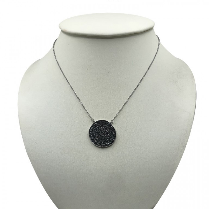 white gold circle shaped necklace - SILVER