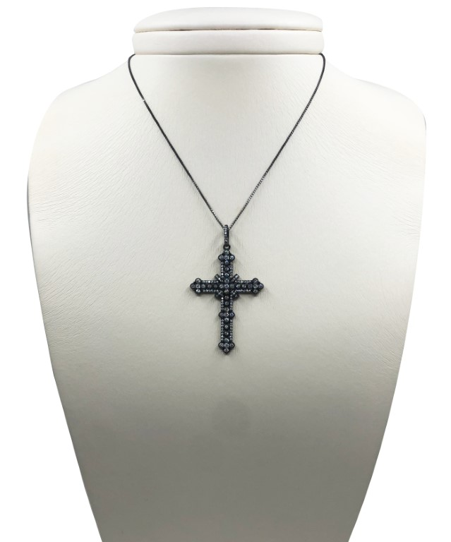white gold necklace with a big cross - SILVER