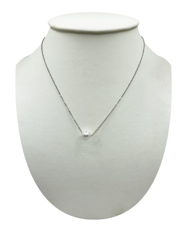 white gold necklase with a pearl - SILVER