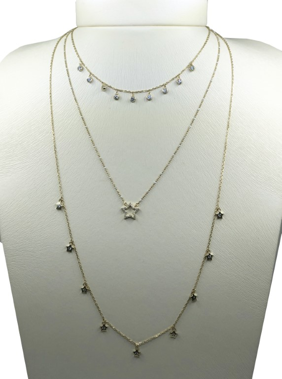 yellow gold 3 set necklace with rhinestones and stars - SILVER