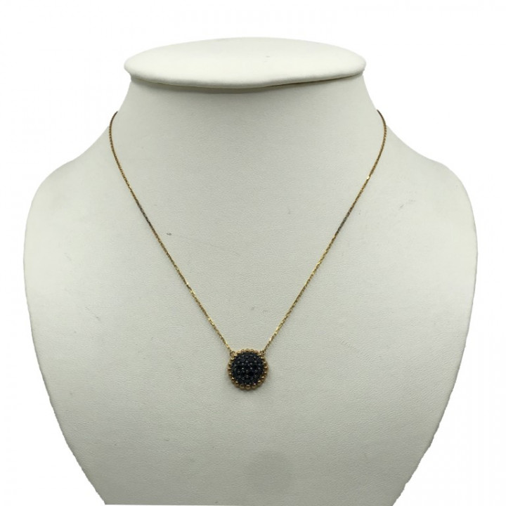 yellow gold necklace with black rhinestones - SILVER