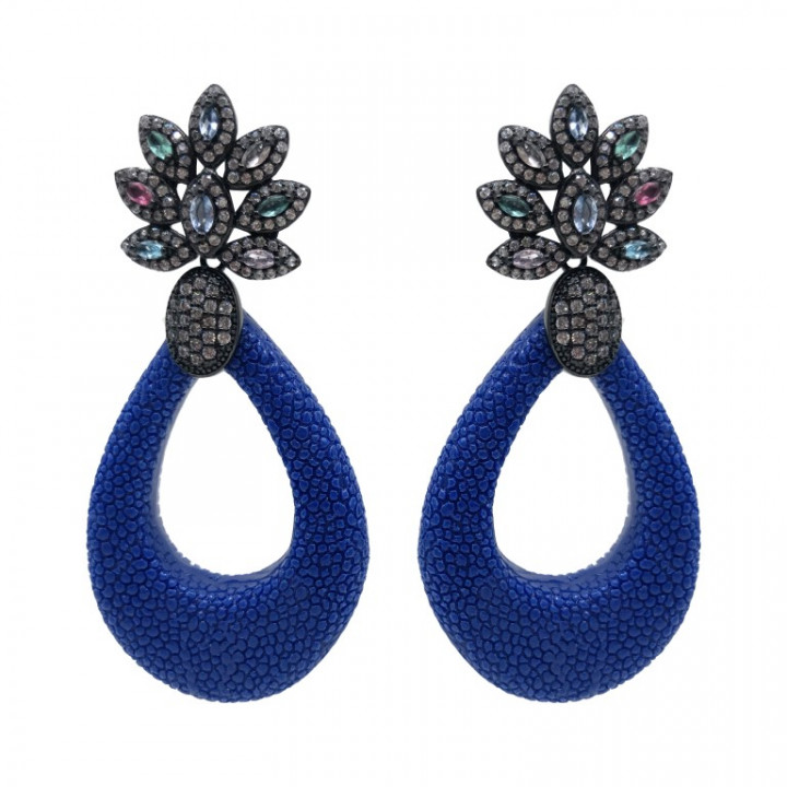 white gold earrings with blue and multicolored rhinestones - SILVER
