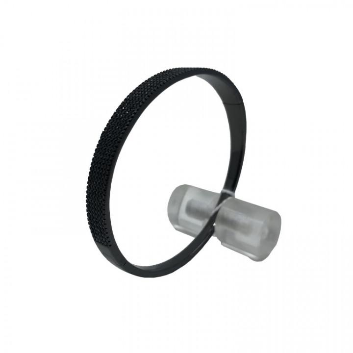 black silver bracelet with black rhinestones - SILVER
