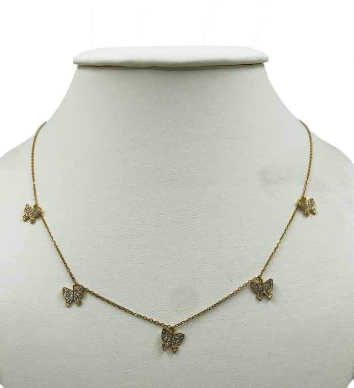 Yellow Gold Necklace with Butterflies - Silver - SPECIAL OFFER