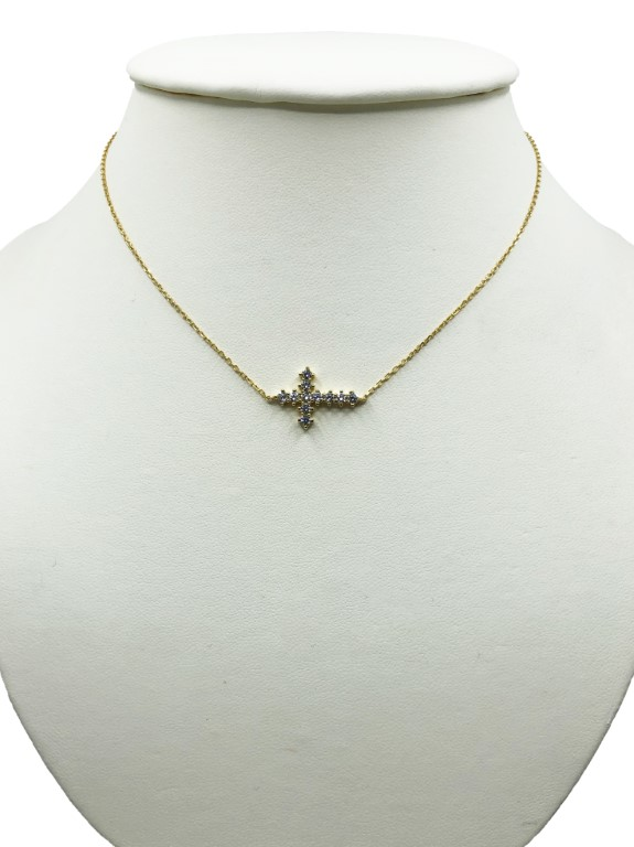 Yellow Gold Necklace with a Cross - Silver - SPECIAL OFFER