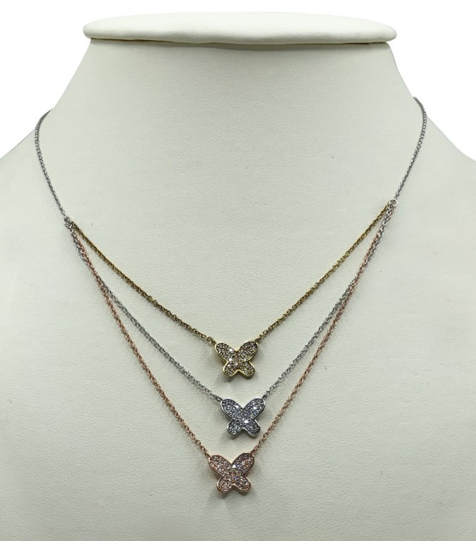 White gold necklace with multicolored butterflies - Silver - SPECIAL OFFER